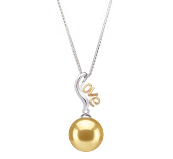10-11mm AAA Quality South Sea Cultured Pearl Pendant in Nelia Gold