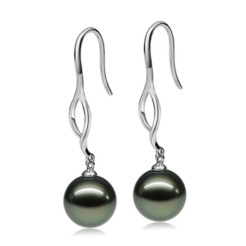 9-10mm AAA Quality Tahitian Cultured Pearl Earring Pair in Olivia Dangle Black