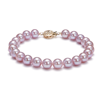 7.5-8mm AAA Quality Freshwater Cultured Pearl Bracelet in Lavender