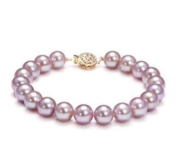 8.5-9.5mm AAAA Quality Freshwater Cultured Pearl Bracelet in Lavender