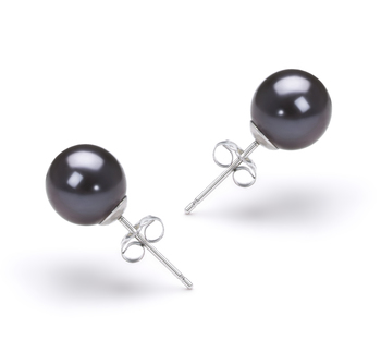 7-8mm AAAA Quality Freshwater Cultured Pearl Earring Pair in Black