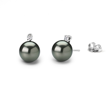 7.5-8mm AAAA Quality Freshwater Cultured Pearl Earring Pair in Black