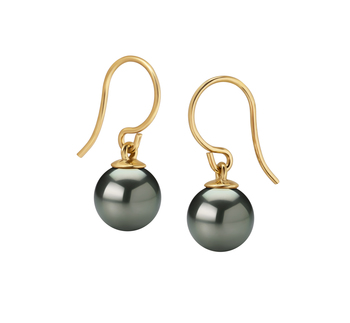 7-7.5mm AAAA Quality Freshwater Cultured Pearl Earring Pair in Black