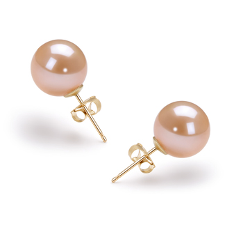 9-10mm AAAA Quality Freshwater Cultured Pearl Earring Pair in Pink