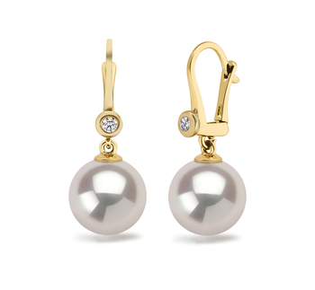8.5-9mm AAAA Quality Freshwater Cultured Pearl Earring Pair in White