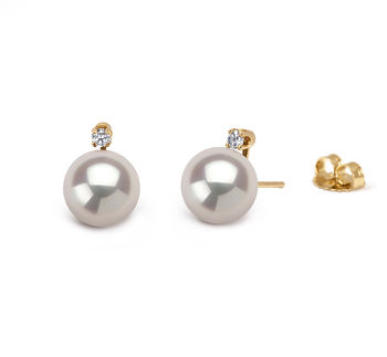 9.5-10mm AAAA Quality Freshwater Cultured Pearl Earring Pair in White