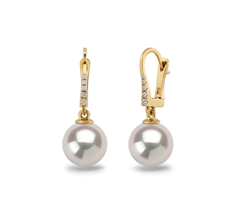 9-10mm AAAA Quality Freshwater Cultured Pearl Earring Pair in Sparkle White