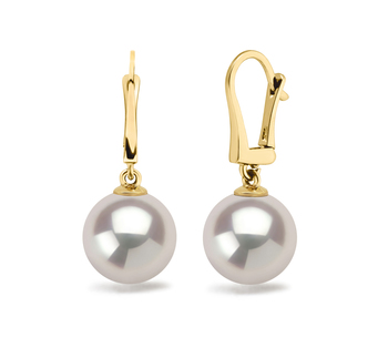 9.5-10mm AAAA Quality Freshwater Cultured Pearl Earring Pair in Elements White