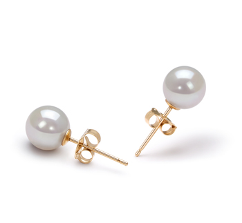 6-7mm AA Quality Japanese Akoya Cultured Pearl Earring Pair in White