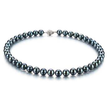 8-8.5mm AAA Quality Japanese Akoya Cultured Pearl Necklace in Black