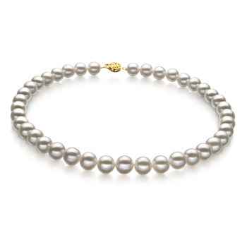 9-10mm AAA Quality Freshwater Cultured Pearl Necklace in White