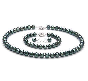 7-7.5mm AAA Quality Japanese Akoya Cultured Pearl Set in Black