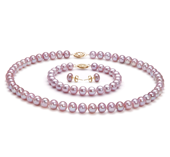 7-8mm AA Quality Freshwater Cultured Pearl Set in Lavender