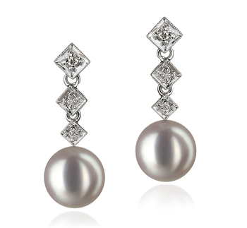 8-9mm AAA Quality Japanese Akoya Cultured Pearl Earring Pair in Rozene White