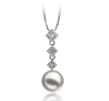 8-9mm AAA Quality Japanese Akoya Cultured Pearl Pendant in Rozene White