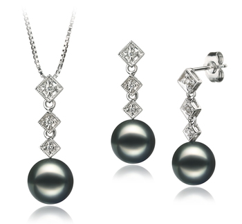 8-9mm AAA Quality Japanese Akoya Cultured Pearl Set in Rozene Black