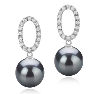 9-10mm AAA Quality Tahitian Cultured Pearl Earring Pair in Sabrina Black