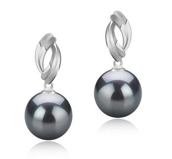 9-10mm AAA Quality Tahitian Cultured Pearl Earring Pair in Shamara Black
