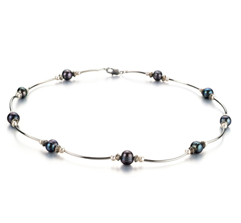 5-7mm A Quality Freshwater Cultured Pearl Necklace in Sophia Black