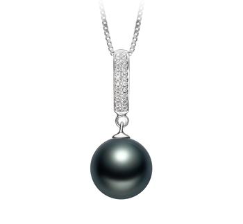 10-11mm AAA Quality Tahitian Cultured Pearl Pendant in Talitha Black