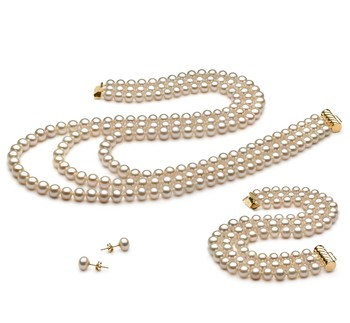 6-7mm AA Quality Freshwater Cultured Pearl Set in Triple Strand White
