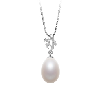 10-11mm AA - Drop Quality Freshwater Cultured Pearl Pendant in Vilde White