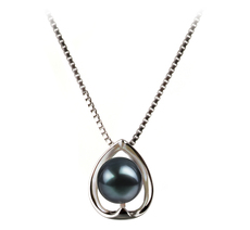 6-7mm AA Quality Japanese Akoya Cultured Pearl Pendant in Amanda Black