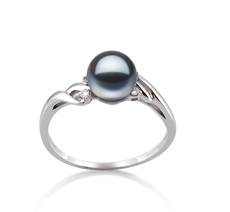 6-7mm AAAA Quality Freshwater Cultured Pearl Ring in Andrea Black