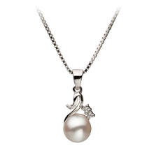 6-7mm AA Quality Japanese Akoya Cultured Pearl Pendant in Ariana White