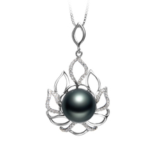 12-13mm AAA Quality Tahitian Cultured Pearl Pendant in Calida Black