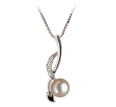 6-7mm AA Quality Japanese Akoya Cultured Pearl Pendant in Diana White