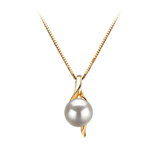 Dinah White 6-7mm AAA Quality Japanese Akoya 14K Yellow Gold Pearl Pendant