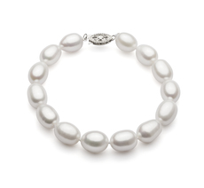 Drop White 8.5-9.5mm AA Quality Freshwater Cultured Pearl Bracelet