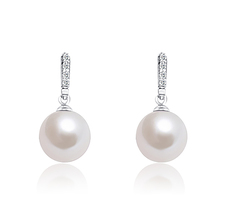 13-14mm AA+ Quality Freshwater - Edison Cultured Pearl Earring Pair in Edison Dangle White