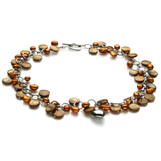 6-7mm A Quality Freshwater Cultured Pearl Necklace in Honey - Pearl with Heart Charms Champagne