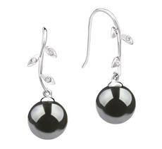 Honora Black 9-10mm AAA Quality Tahitian 14K White Gold Pearl Earring Pair Pearl Earring Set