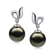 9-10mm AAA Quality Tahitian Cultured Pearl Earring Pair in Jeannie Black