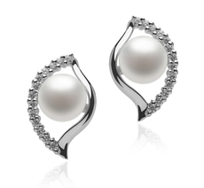 6-7mm AAAA Quality Freshwater Cultured Pearl Earring Pair in Lilia White