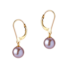 7-8mm AAAA Quality Freshwater Cultured Pearl Earring Pair in Marcella Lavender