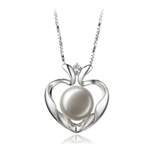 9-10mm AA Quality Freshwater Cultured Pearl Pendant in Marlina Heart White