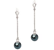 Misha Black 6-7mm AA Quality Japanese Akoya 14K White Gold Pearl Earring Pair Pearl Earring Set