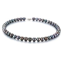 Multi-color Multicolor 8-9mm AA Quality Japanese Akoya 14K Yellow Gold Cultured Pearl Necklace
