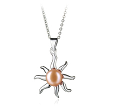 7-8mm AA Quality Freshwater Cultured Pearl Pendant in Nina Pink