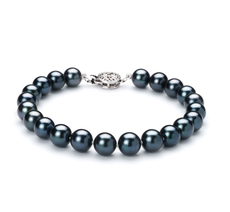 7.5-8mm AA Quality Japanese Akoya Cultured Pearl Bracelet in Black