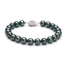 7.5-8mm AAA Quality Japanese Akoya Cultured Pearl Bracelet in Black