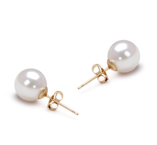 7.5-8mm AAA Quality Japanese Akoya Cultured Pearl Earring Pair in White