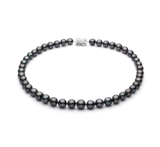 9-10.9mm AA+ Quality Tahitian Cultured Pearl Necklace in Black