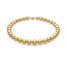 Gold 11.53-15.2mm AAA+ Quality South Sea 14K Yellow Gold Pearl Necklace