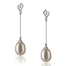 7-8mm AA Quality Freshwater Cultured Pearl Earring Pair in Reese White