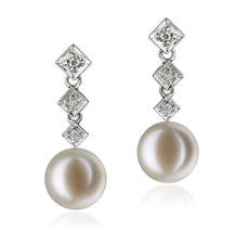 9-10mm AAAA Quality Freshwater Cultured Pearl Earring Pair in Rozene White